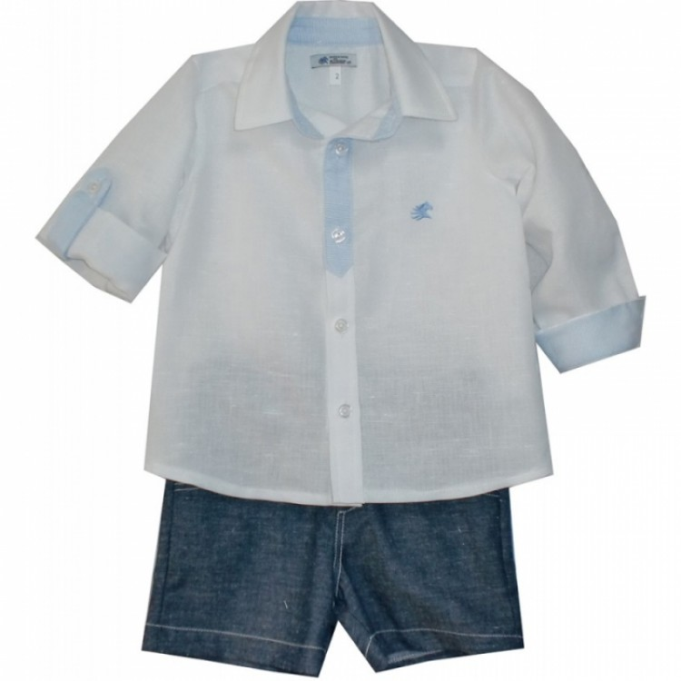 A6574 SPANISH WHT/BLUE & DENIM SHIRT SUIT