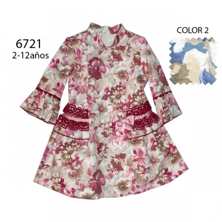A6721 SPANISH PRE ORDER LACE TRIM FLORAL DRESS