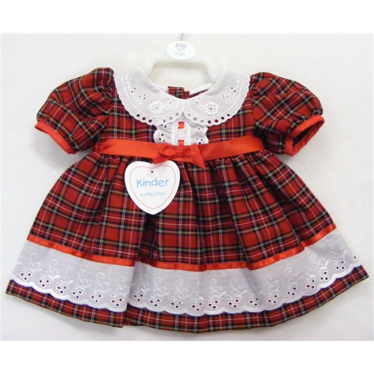 1282 KINDER BRODERIE TRIM TARTAN DRESS