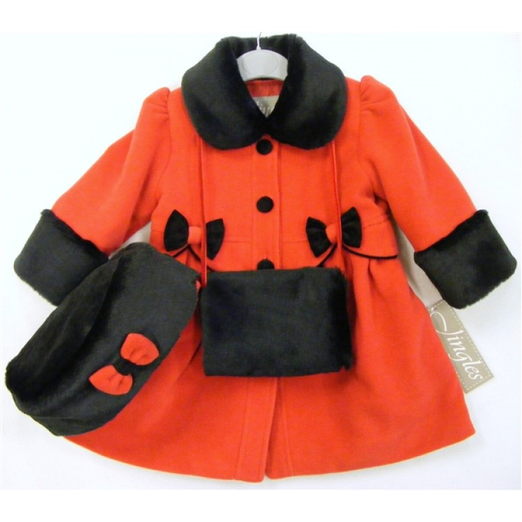 M100  PRE ORDER - JINGLES RED/BLACK SCALLOPS & BOWS COAT,HAT & MUFF SET