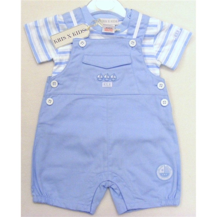 6065 KXK PALE BLUE SAIL BOAT SHORT DUNGAREE SUIT