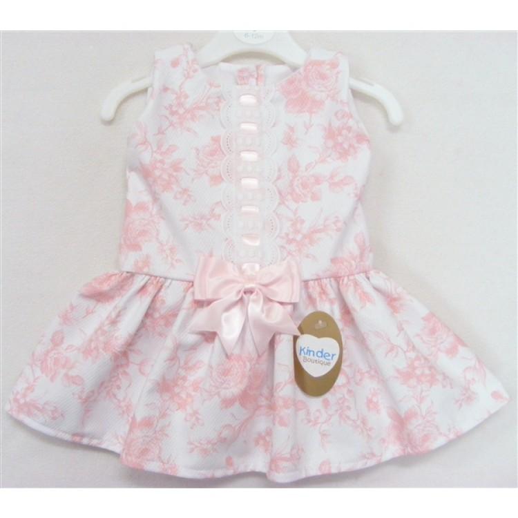 9070R PINK ROSE PRINT DROP WAIST DRESS