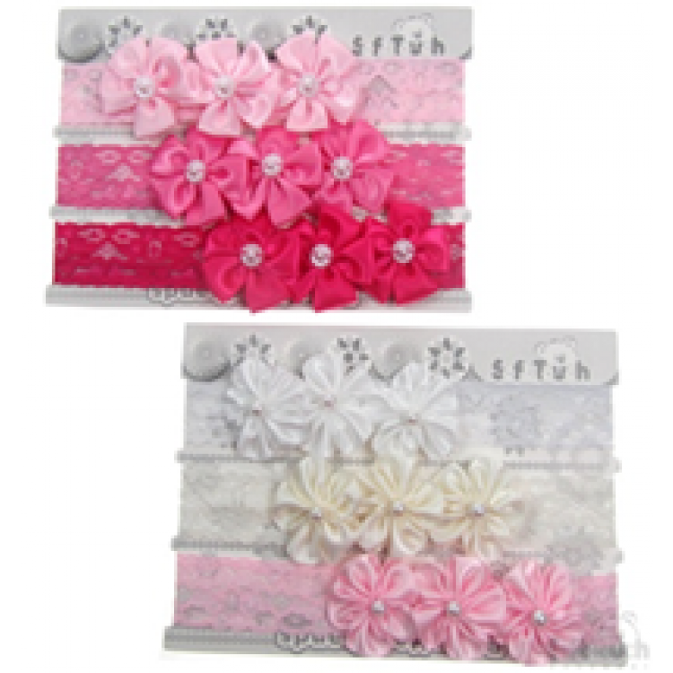 HB65 SOFT TOUCH 3 FLOWERS & PEARL HEADBANDS