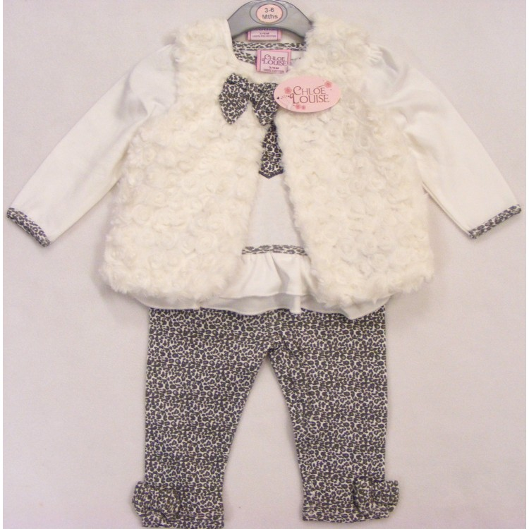 10192 CHLOE LOUISE 3pce CREAM FUR GILET SET LEOPARD PRINT HEART