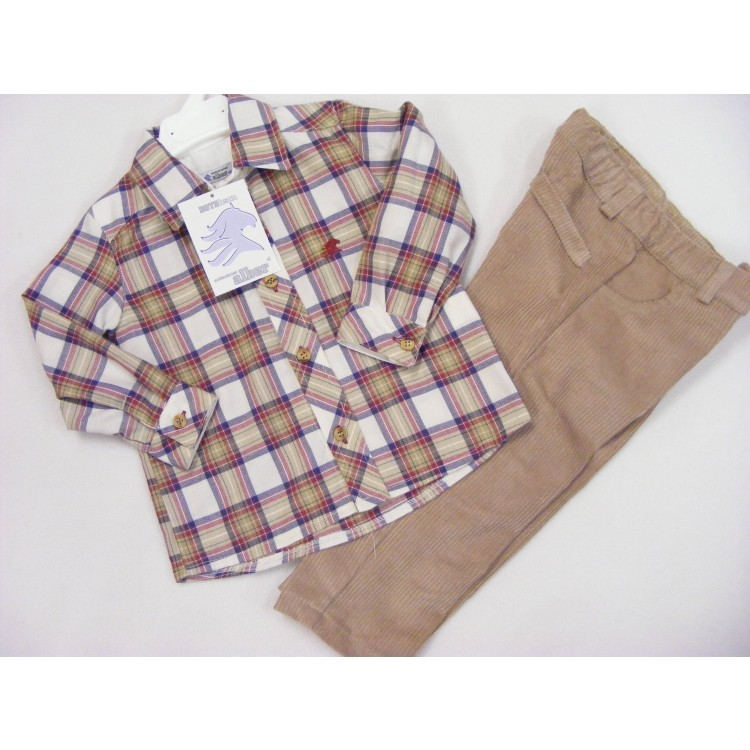 A6881 ALBER SPANISH LONG CORD TROUSERS & LARGE CHECK SHIRT