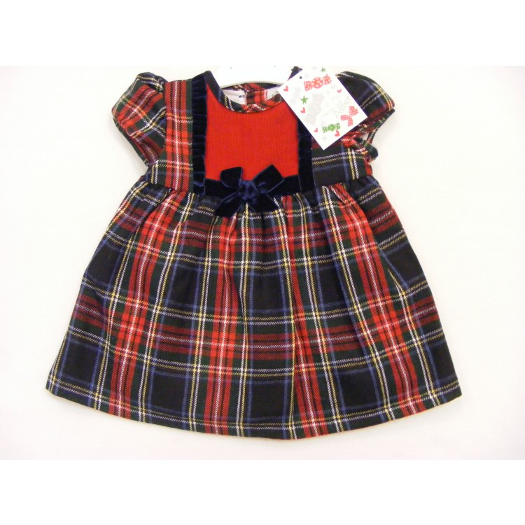 A5717 ALBER SPANISH  NAVY/RED TARTAN DRESS WITH VELVET TRIM