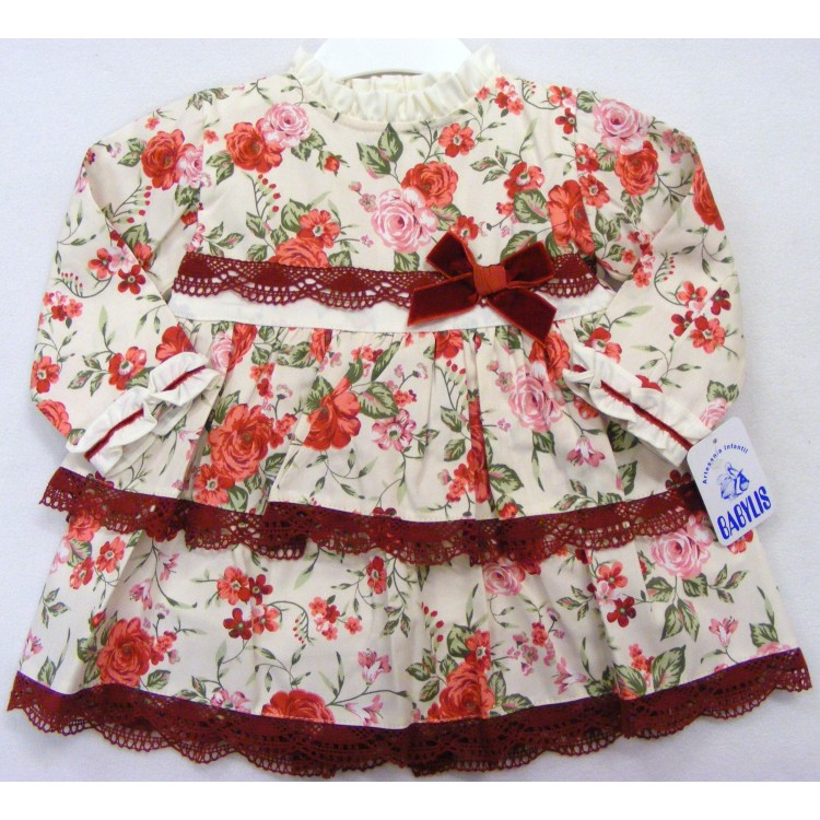 2638 BABYLIS CREAM/WINE ROSES DRESS