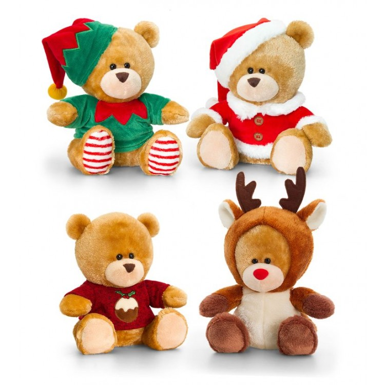SX0491 KEEL TOYS 20CM CHRISTMAS PIP THE BEAR 4 ASSTD