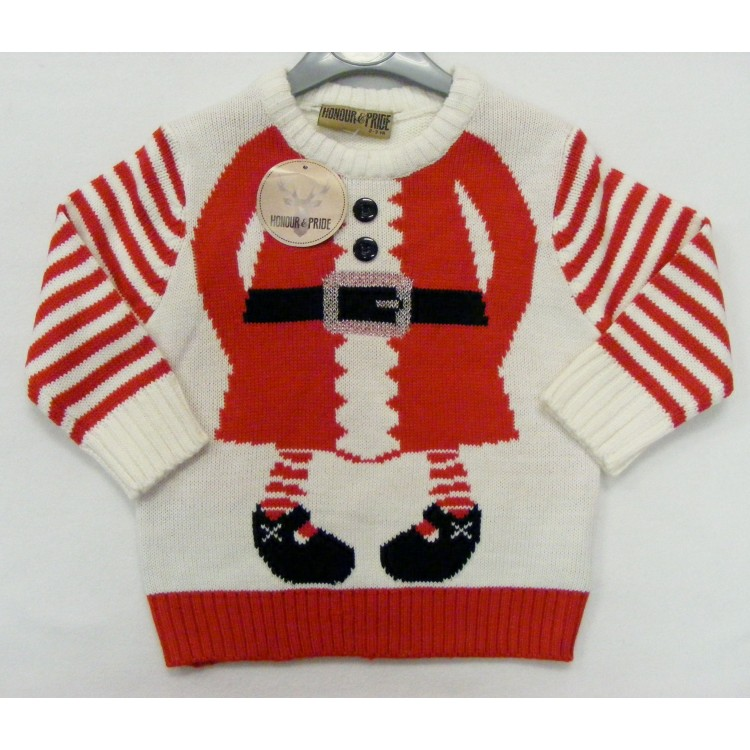 10280 CREAM & RED SANTA CHRISTMAS JUMPER