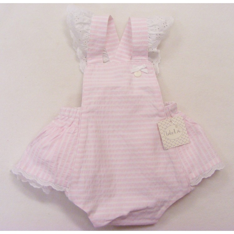 BL18-114 BABY LAI PINK/WHT STRIPE BRODERIE TRIM FRILLY ROMPER