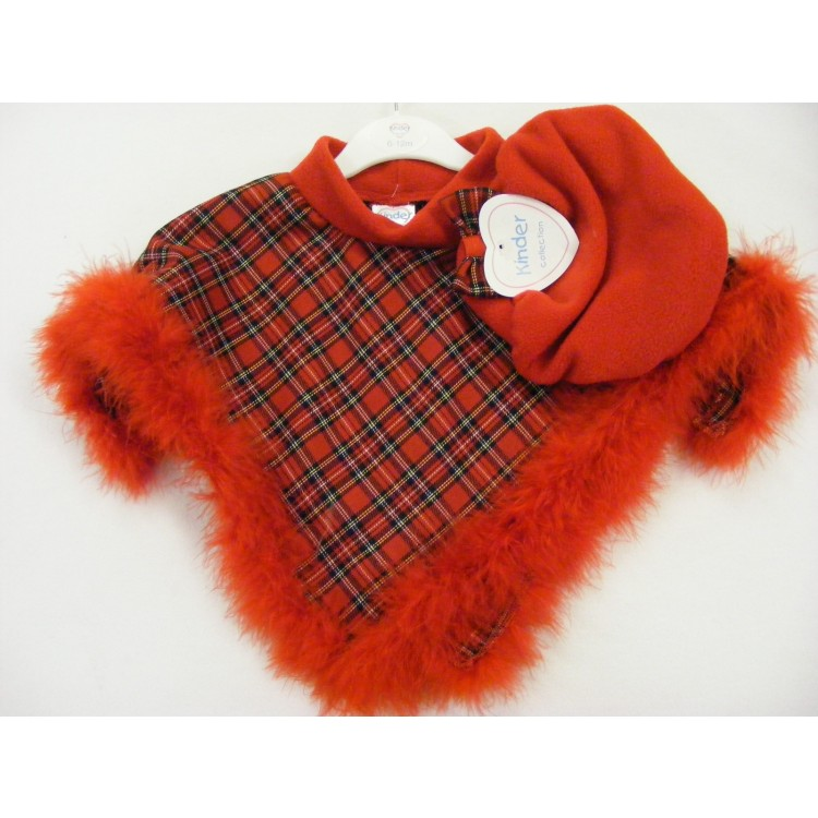 3108 KINDER UNLINED MARABOU TRIM RED TARTAN PONCHO & BERET SET