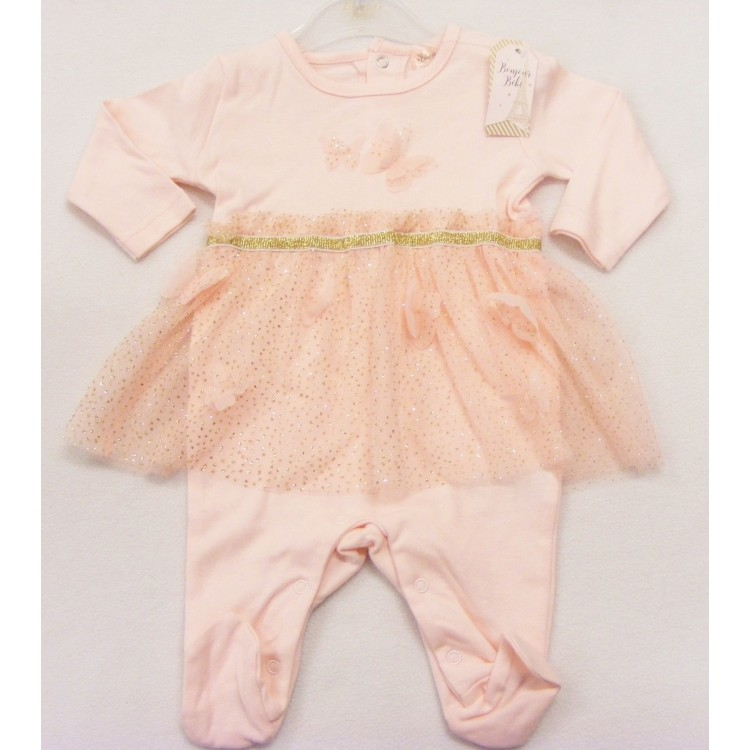 15765 'BONJOUR BEBE' PINK BUTTERFLY SLEEPSUIT with GOLD SPARKLE TUTU SKIRT