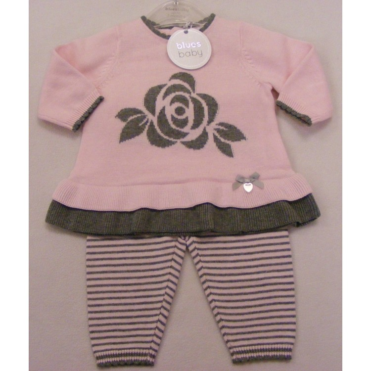 PP0173 BLUES BABY PINK/GREY ROSE 2PCE KNITTED SUIT