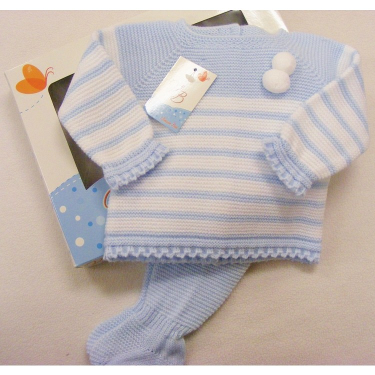 8023 VB BLUE/WHITE STRIPED KNITTED SUIT