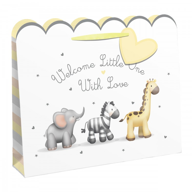 26856 'WELCOME LITTLE ONE WITH LOVE' BABY SHOPPER WITH CARD BAG