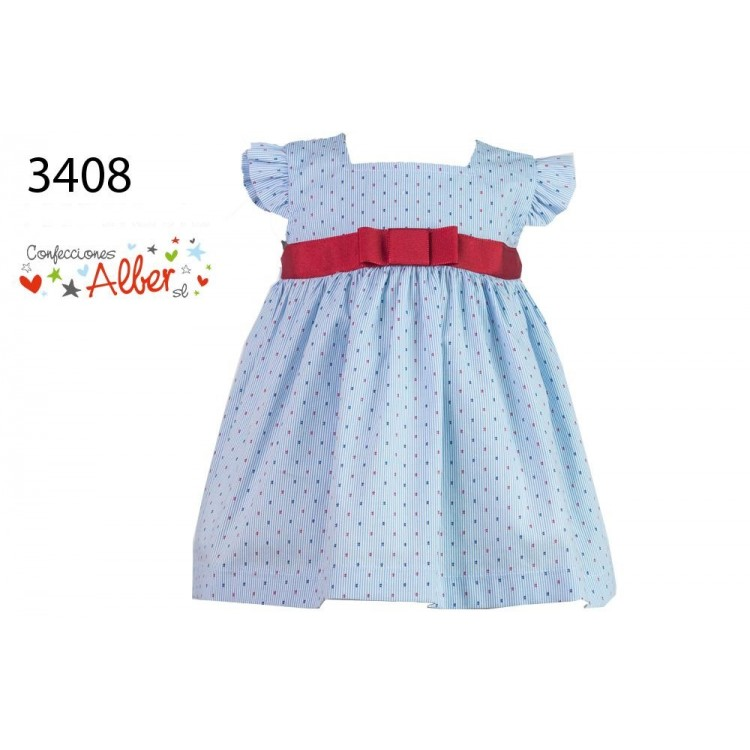 3408 ALBER FRILL SLEEVE SUN DRESS with RED SASH