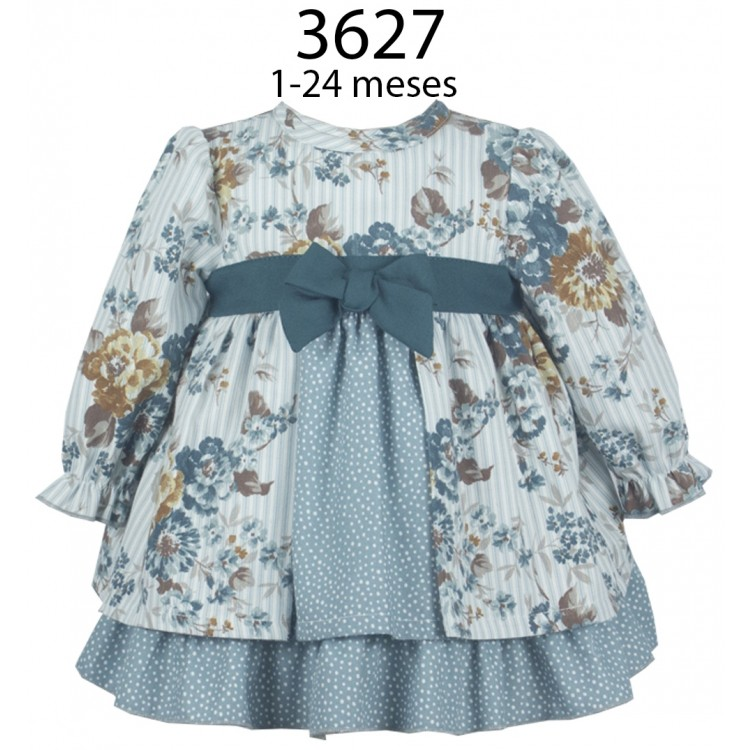 3627  ALBER BLUE FLORAL 2 LAYER DRESS