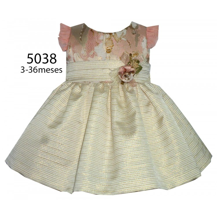 A5038 ALBER  CAP SLEEVE GOLD BROCCADE SPECIAL OCCASSION DRESS