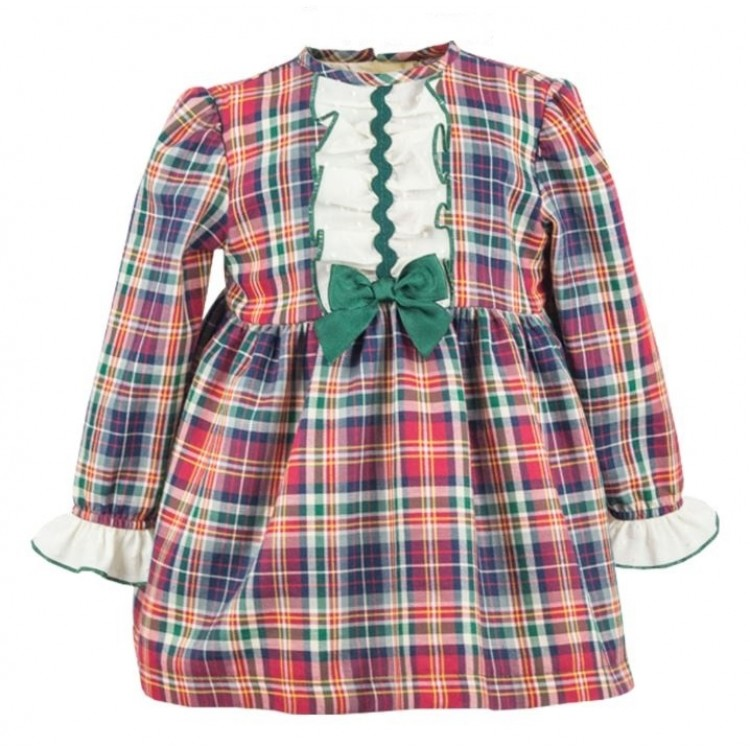 5920 ALBER TARTAN DRESS with WHITE FRILL
