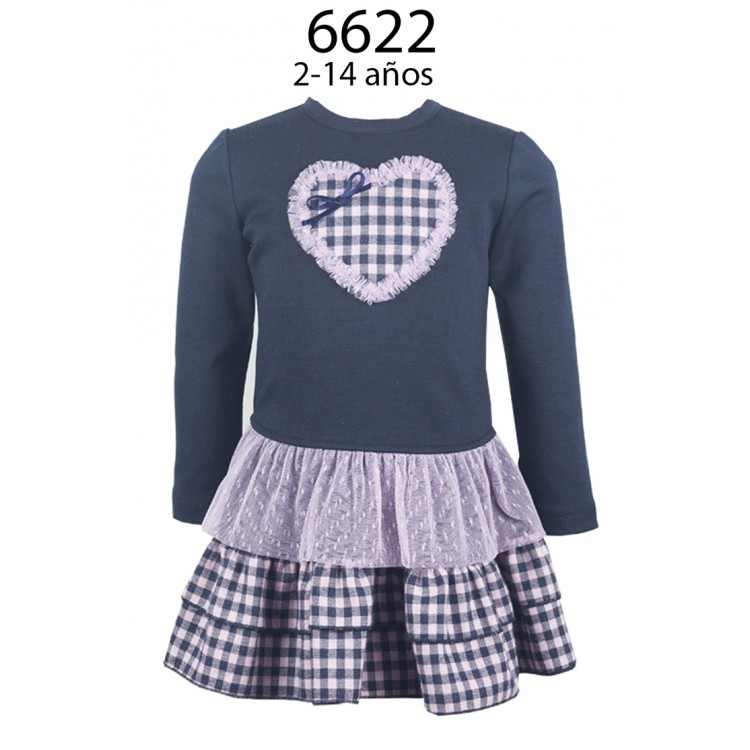 6622  ALBER NAVY DROPWAIST DRESS with NAVY/PINK GINGHAM SKIRT WITH MESH FRILL