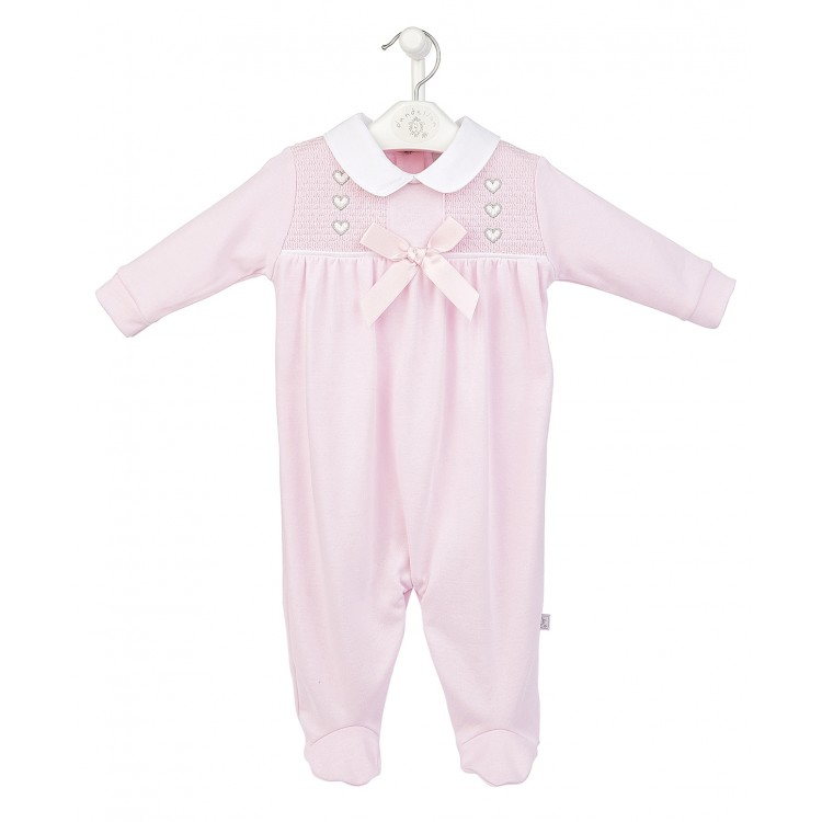 AV2440P DANDELION PINK HEARTS SMOCKED YOLK COTTON SLEEPSUIT