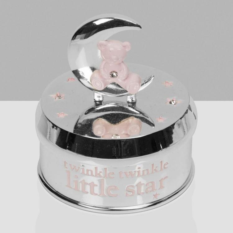 CG1666P Bambino Silver Plated Musical Bear in Moon - Pink