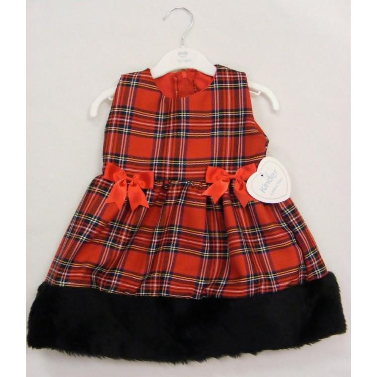 0827 KINDER RED TARTAN DRESS with BLACK FUR TRIM HEM