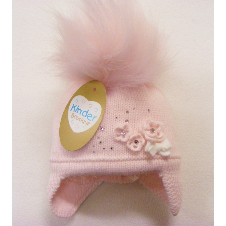 **PRE ORDER** AY71  KINDER BOUTIQUE PINK FANCY DIAMANTE FLOWER KNIT FUR POM HAT WITH EAR FLAP & TIES