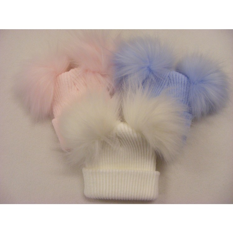CT93 2ND SIZE SELF COLOUR RIBBED 2 FUR POM HATS