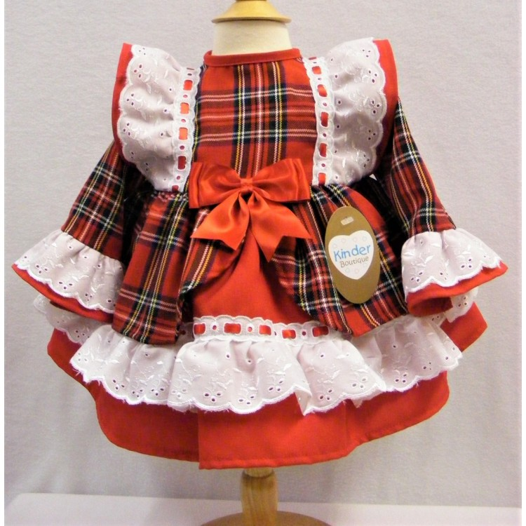 KB7076 'KINDER BOUTIQUE' RED TARTAN OPEN FRONT FRILL TRIM DRESS