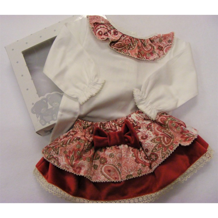 CB03 RED VELVET FLORAL PAISLEY FRILLY 2PCE JAM PANTS SET