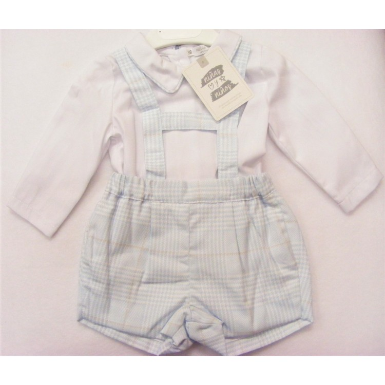 3992 NINAS Y NINOS  BLUE/BEIGE CHECK H STRAP SHORTS & SHIRT SET