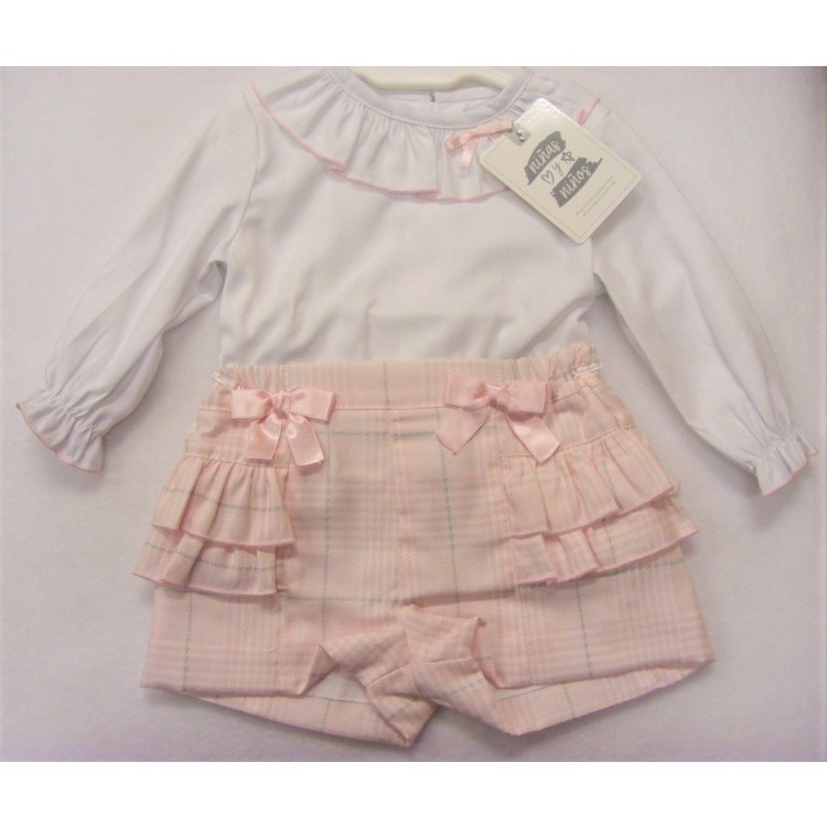 3994 NINAS Y NINOS  PINK /GREY CHECK FRILLY JAM PANTS & BLOUSE SET