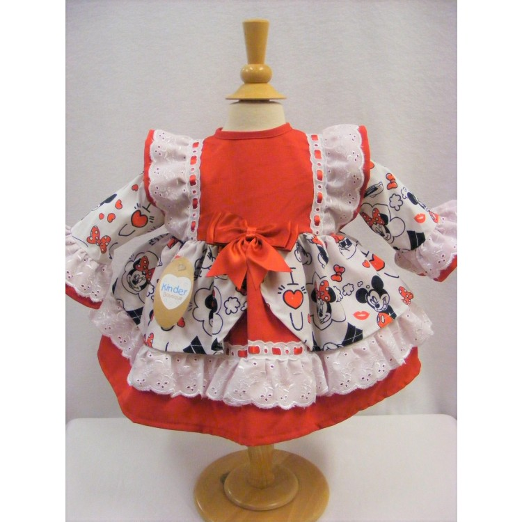 KB7078 KINDER BOUTIQUE DISNEY (OFFICIAL) MINNIE & MICKEY OPEN FRONT RED YOKE DRESS