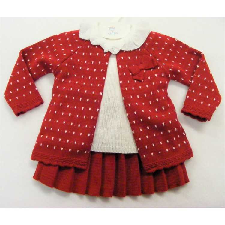 3867 KINDER RED PLEATED KNIT 3PCE SKIRT SUIT