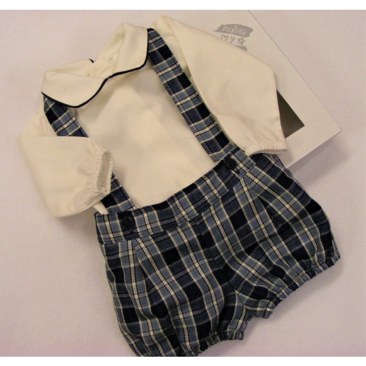 PQ0101'NINA Y NINOS' NAVY/BLUE TARTAN BRACES SHORTS & SHIRT