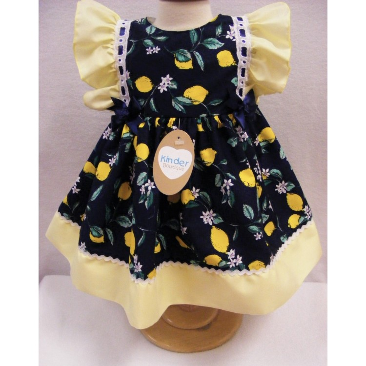 KB2220 KINDER BOUTIQUE NAVY LEMONS RIC RAC TRIM DRESS