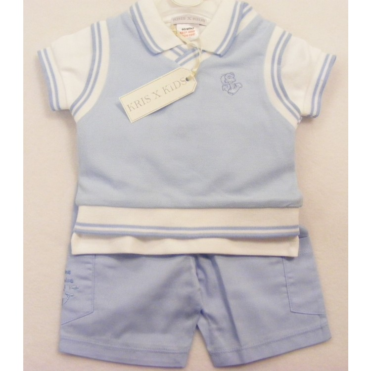 6015 KRIS X KIDS 3PCE 'UNDER THE DEEP BLUE SEA' SLIPOVER,POLO SHIRT & SHORTS SUIT