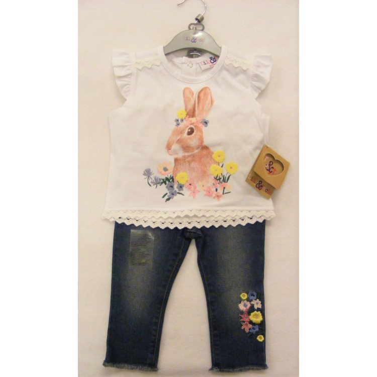 R18203 LILY & JACK FLORAL BUNNY TOP WITH EMBROIDERED JEANS
