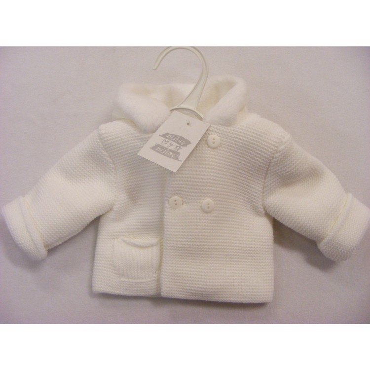P014 NINAS Y NINOS ACRYLIC FUR LINED HOOD  KNITTED JACKET - WHITE