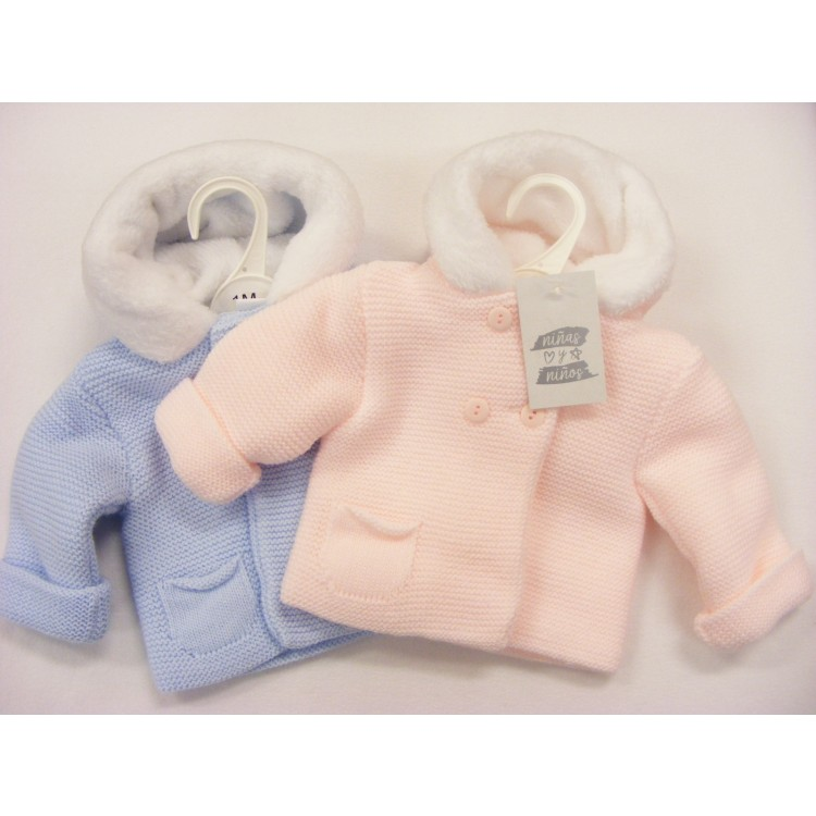P014 NINAS Y NINOS ACRYLIC FUR LINED HOOD  KNITTED JACKET - PINK/BLUE