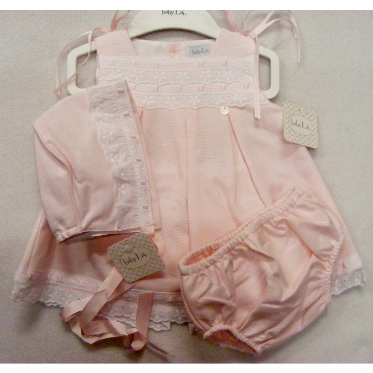 17-1213 'BABY LAI' RIBBON SLOT BA SUN DRESS with BONNET & PANTS