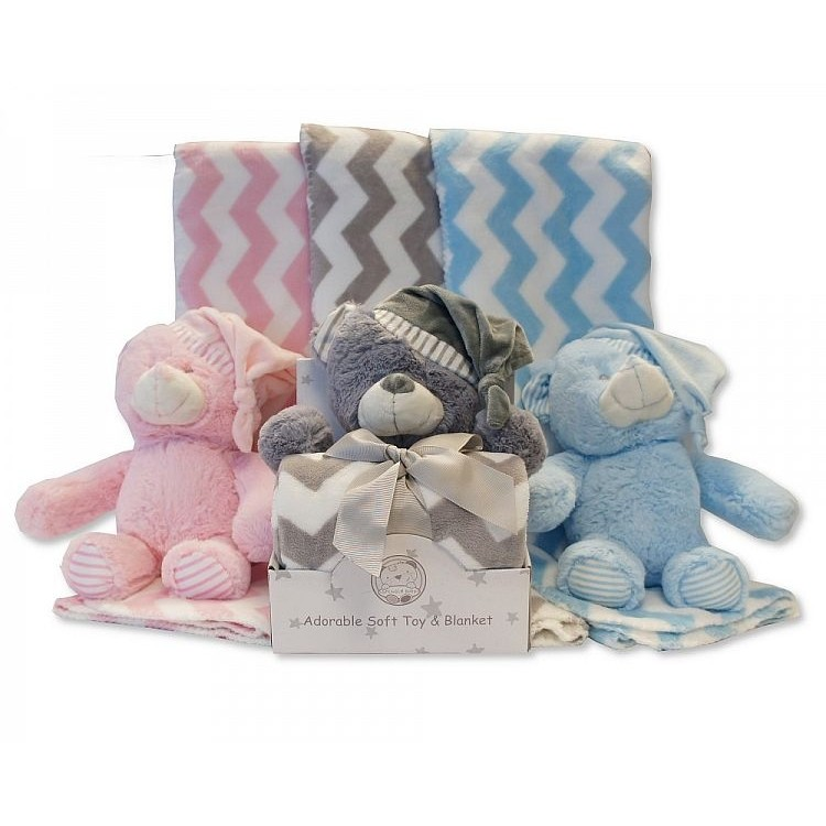 25-0915 'ADORABLE' SOFT TOY & ZIG ZAG BLANKET-- SKY, GREY & PINK