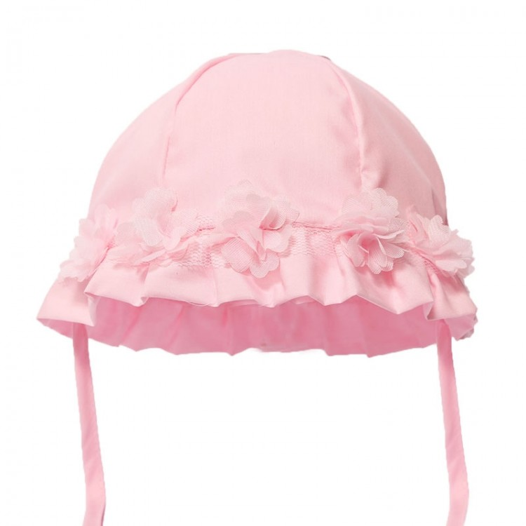 H38-P SOFT TOUCH PINK SUMMER HAT with FLOWERS