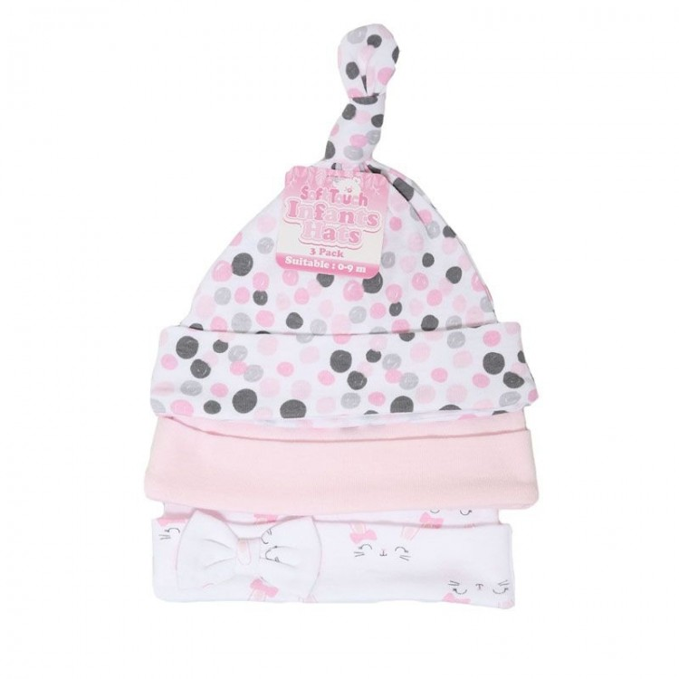 H51 'SOFT TOUCH' 3 PACK PINK BUNNY COTTON HATS