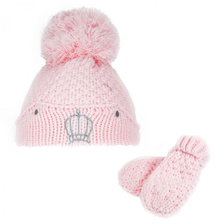 H614-P-SM CROWN PINK POM-POM HAT & MITTENS SET