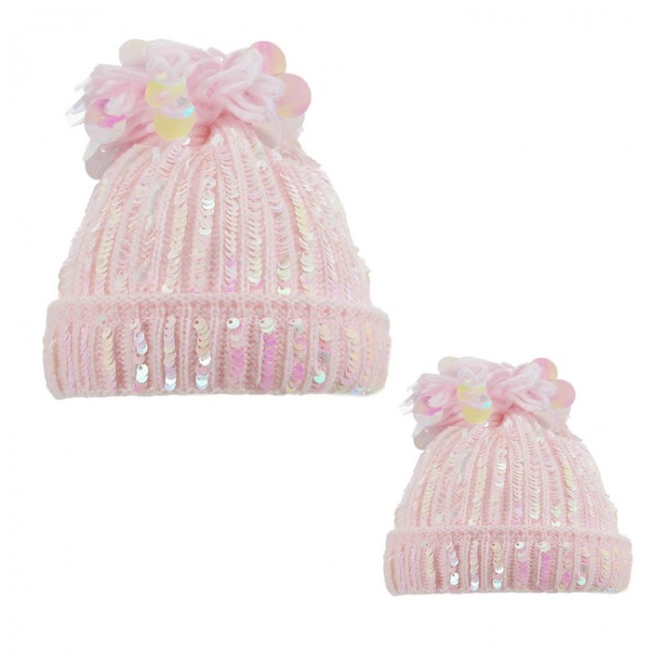 H616-P SOFT TOUCH PINK  MUMMY & BABY SEQUIN POM HAT