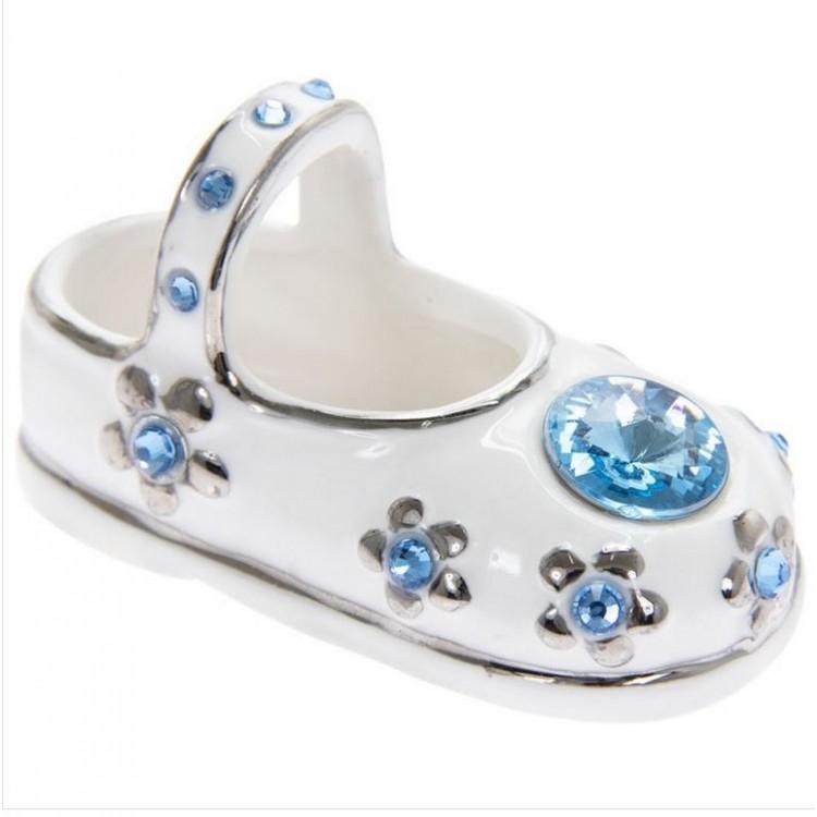 LP44138 DIAMANTE PAIR CERAMIC BOOTEE ORNAMENTS -- BLUE