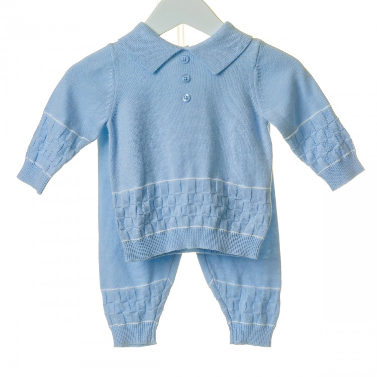 TT0122 'BLUES BABY' SKY BASKET WEAVE HEM 2PCE KNITTED COTTON SUIT