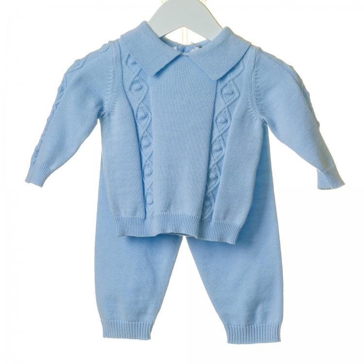 TT0123 'BLUES BABY' BLUE DIAMOND CABLE JUMPER & LONG LEG SUIT